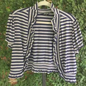 Striped Bolero/ Cover-up 2X Navy & Gray Ruffle